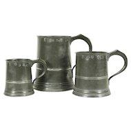 Set of 3 Antique Graduated Pewter Mugs, Yates & Birch, Birmingham, England