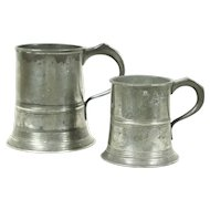 Pair Antique English Pewter Mugs, Hallmarked Joseph Morgan, Royal Stamps