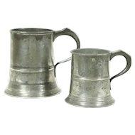 Pair Antique English Pewter Mugs, Hallmarked Joseph Morgan, Royal Stamps