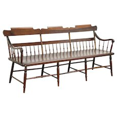 New England Country Carved 1840's Antique Deacon or Hall Bench or Settle