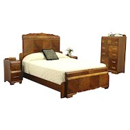 Waterfall Art Deco Vintage Bedroom Set, Queen Size Bed, Chest, 2 Nightstands