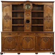 Country French Carved Oak Antique Pewter Cupboard, Sideboard Server with Clock