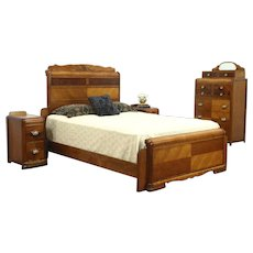Waterfall Art Deco Vintage Bedroom Set Queen Size Bed, Tall Chest, 2 Nightstands