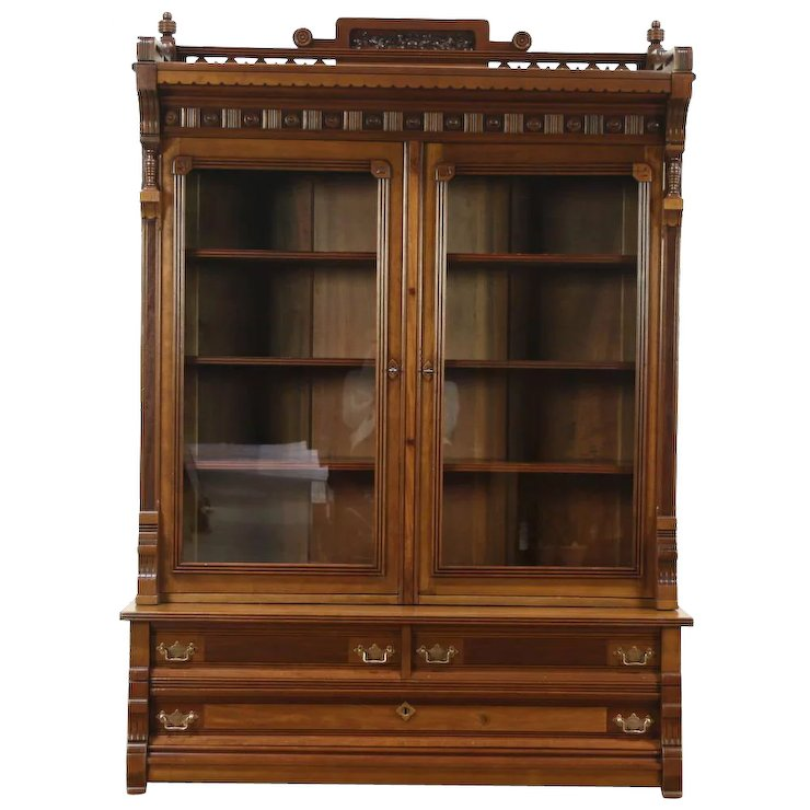 Victorian Eastlake 1880 Antique Cherry Library Bookcase - Victorian Eastlake 1880 Antique Cherry Library Bookcase : Harp