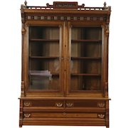 Victorian Eastlake 1880 Antique Cherry Library Bookcase