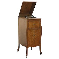 Victor Oak Antique VV-X  Victrola Phonograph Wind Up Record Player & Records