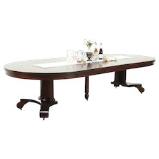 """Empire 54"""" Round Antique Mahogany Dining Table, Extends 10' 6"""""""