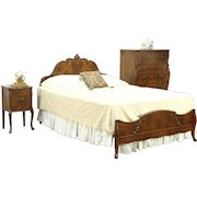 Queen Size Vintage 3 Pc Bedroom Set, Signed Romweber of Indiana