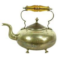 Brass Antique Tea Kettle, Copper Lid & Glass Handle, Signed JCB