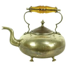 Brass Antique Tea Kettle, Copper Lid & Glass Handle, Signed JCB