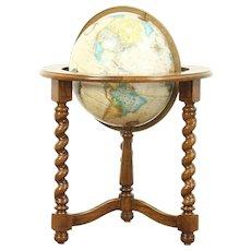 Globe of the World & Vintage Oak Stand, Signed Replogle