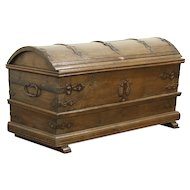 Oak Antique 1800 Treasure Chest or Trunk, Wrought Iron Bindings, Germany