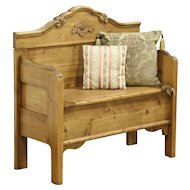 Country Pine Hall Bench, Storage Under Seat From Antique Salvage