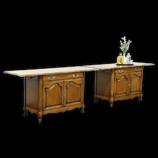 Pair of Country French Vintage Sideboard Servers or End Tables, Signed Karges