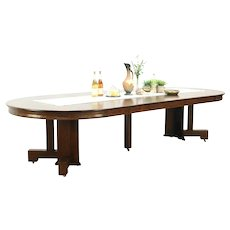 """Arts & Crafts Mission Oak Antique Round Dining Table,6 Leaves Extends 10' 6"""""""