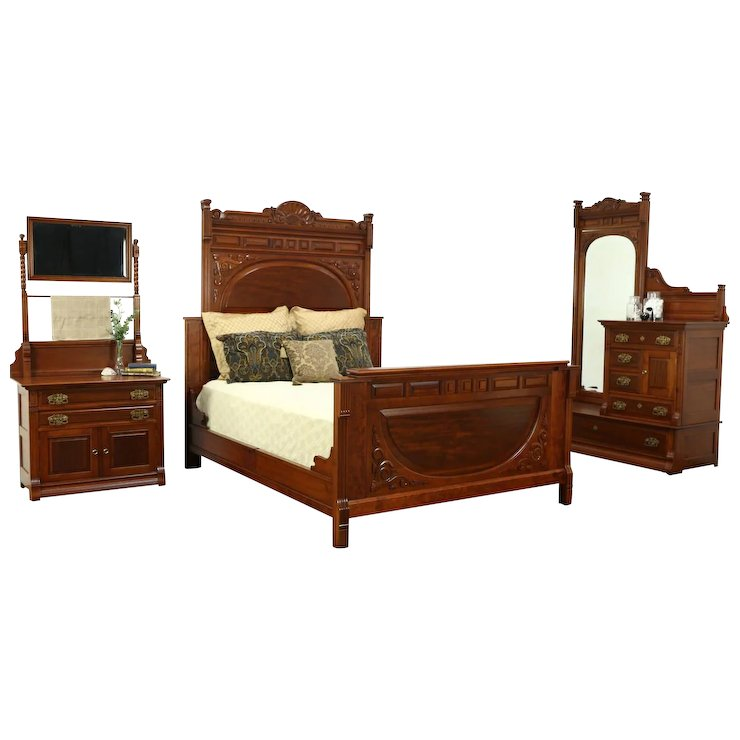 Victorian Antique Cherry & Mahogany 3 Pc. Bedroom Set, Queen Size Bed - Victorian Antique Cherry & Mahogany 3 Pc. Bedroom Set, Queen Size