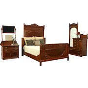 Victorian Antique Cherry & Mahogany 3 Pc. Bedroom Set, Queen Size Bed