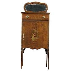 Oak 1900 Antique Music Cabinet, Beveled Mirror, Instrument Motif