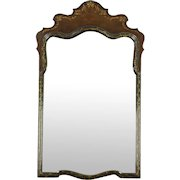 Walnut & Burl Hand Painted Wall Mirror, signed Tobey