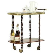 Bar, Beverage or Dessert Cart, Rosewood & Burl Marquetry, Signed Italy
