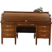 Oak Quarter Sawn Antique 1900 Library Rolltop Desk, Signed Standard