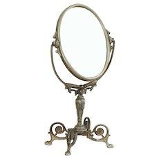 Victorian Antique 1890 Antique Dresser or Shaving Mirror, Beveled Oval Glass