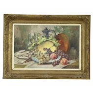 Oysters & Fruit Still Life Antique Oil Painting, Carved Frame, Signed, France