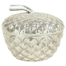 Acorn Shape Bowl & Cover, Hand Hammered 900 Silver 10.2oz