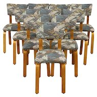 Set of 10 Midcentury Modern 1950 Vintage Designer Dining Chairs, New Upholstery