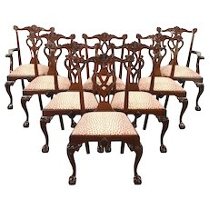 Set of 8 Georgian Chippendale Carved Mahogany Vintage Dining Chairs