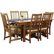 Prairie or Craftsman Vintage Oak Dining Set, Table, 2 Leaves, 6 Chairs