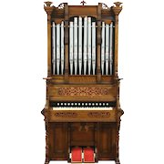 Victorian Eastlake Antique Carved Oak Pump or Reed Organ, Pipes