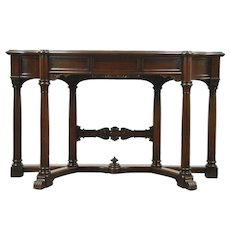 Classical Walnut Hall Console Table, 1940 Vintage Signed Karpen, Shaped Columns