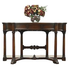 Classical Walnut Hall Console Table, 1940 Vintage Signed Karpen, Carved Columns