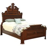 Queen Size Victorian Renaissance Antique 1875 Walnut & Burl Bed