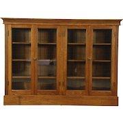 Oak 1900 Antique Library Bookcase, 4 Wavy Glass Doors, Adjustable Shelves