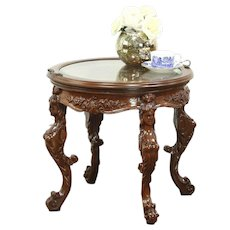 Chairside or Coffee Table, 1930 Vintage Walnut Carved Figures, Glass Tray