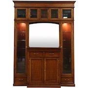 Arts & Crafts Oak Antique Sideboard China Cabinet or Bookcase, Beveled Glass