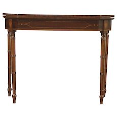 Console Table opens to Game Table, Antique Mahogany Inlaid Banding, England
