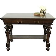 Oak Classical 1900 Antique Writing Desk or Library Table, Fluted Legs