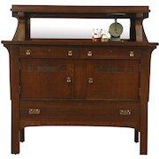 Arts & Crafts Mission Oak Antique Sideboard Server or Craftsman Buffet, Mirror