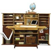 Midcentury Modern 1960 Vintage Mahogany Scandinavian Cabinet Desk