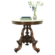 Victorian 1860 Antique Half Round Demilune Hall Console Table, Marble Top