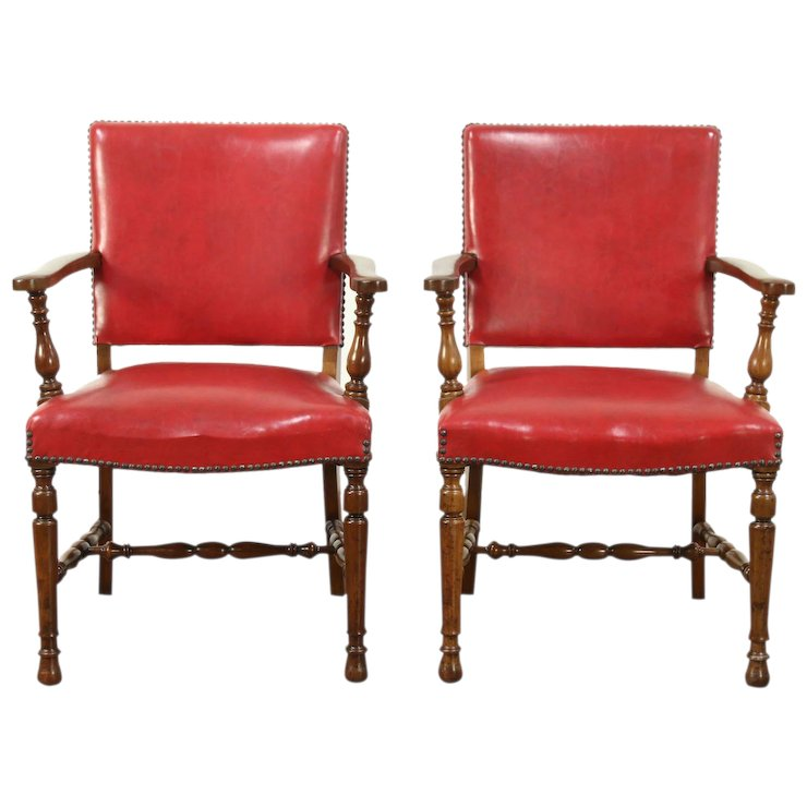Pair of Carved Antique Walnut Office or Library Chairs, Red Faux Leather - Pair Of Carved Antique Walnut Office Or Library Chairs, Red Faux