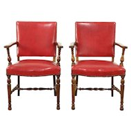 Pair of Carved Antique Walnut Office or Library Chairs, Red Faux Leather