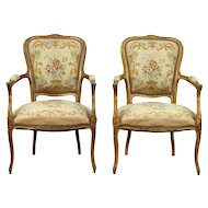 Pair of Carved French 1925 Antique Chairs, Needlepoint Upholstery
