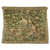 Renaissance Style 1900 Antique Tapestry, Forest & Birds Scene #28107