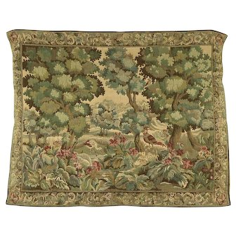 Renaissance Style 1900 Antique Tapestry, Forest & Birds Scene #28107