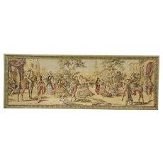 Plaza Scene in Seville, Spain Antique 1910 Tapestry, Original Frame