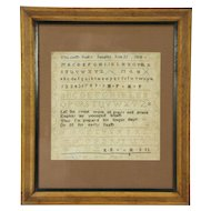 Sampler Cross Stitch Antique Signed Elizabeth Funks 1814, Philadelphia Frame